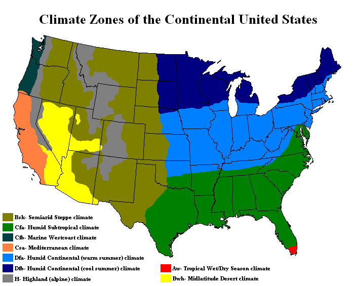 Free Printable Maps: Climate Maps United States and Canada ...