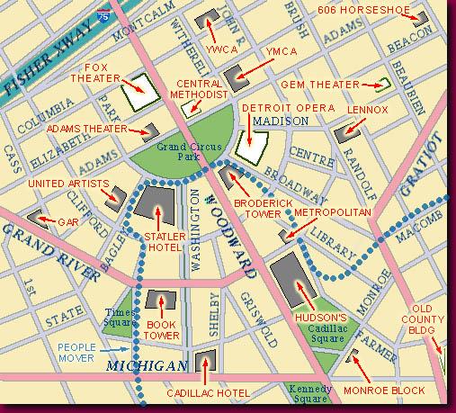 Free Printable Maps City Of Detroit Downtown Map  PrintFree