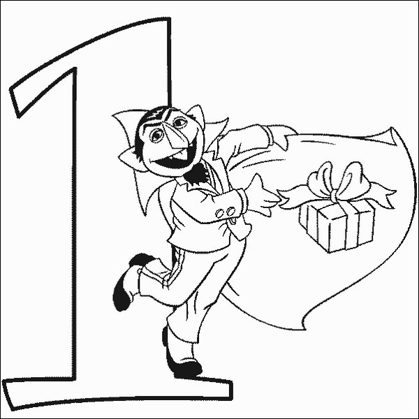 Count Number 1 Coloring Pages