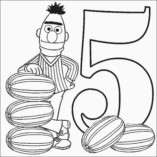 Bert Number 5 Coloring Pages
