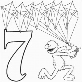 Grover Number 7 Coloring Pages