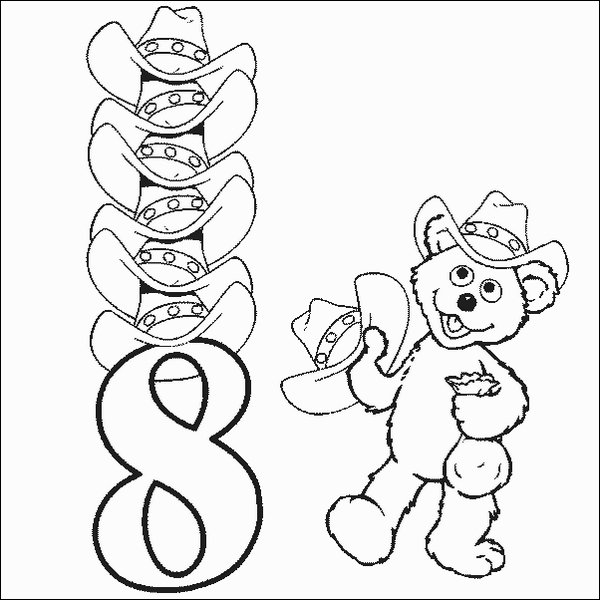 Babybear Number 8 Coloring Pages