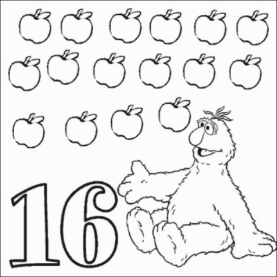 Telly Number 16 Coloring Pages
