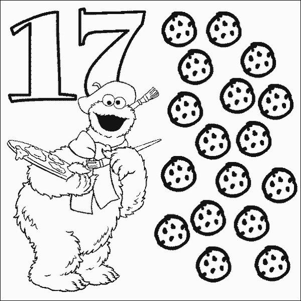 Cookie Number 17 Coloring Pages Printfree Free Printable Cookie Coloring Pages