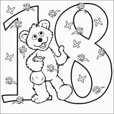 Babybear Number 18 Coloring Pages