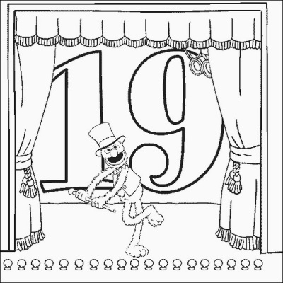 Grover Number 19 Coloring Pages