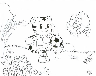 Tiger with Football Coloring Pages