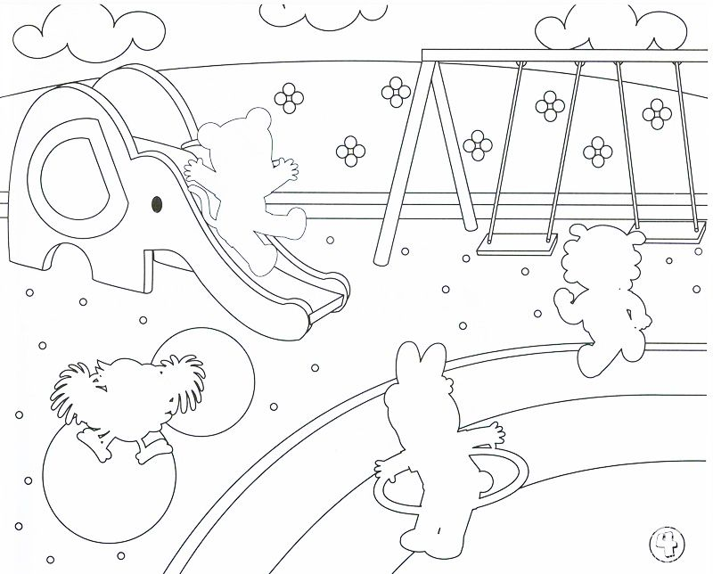 Coloring Pages Children Playing Playground