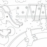 Tiger in Playgrounds Coloring Pages