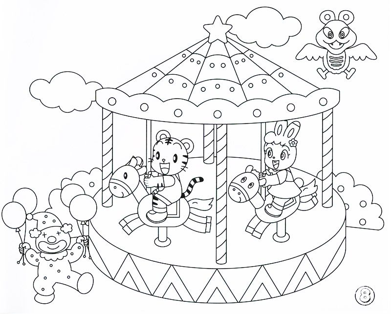 Grand Carousel Coloring Pages Printfree - coloring page of a carousel
