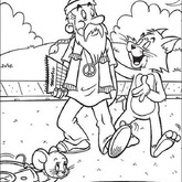 Tom and Jerry Old Man coloring Page