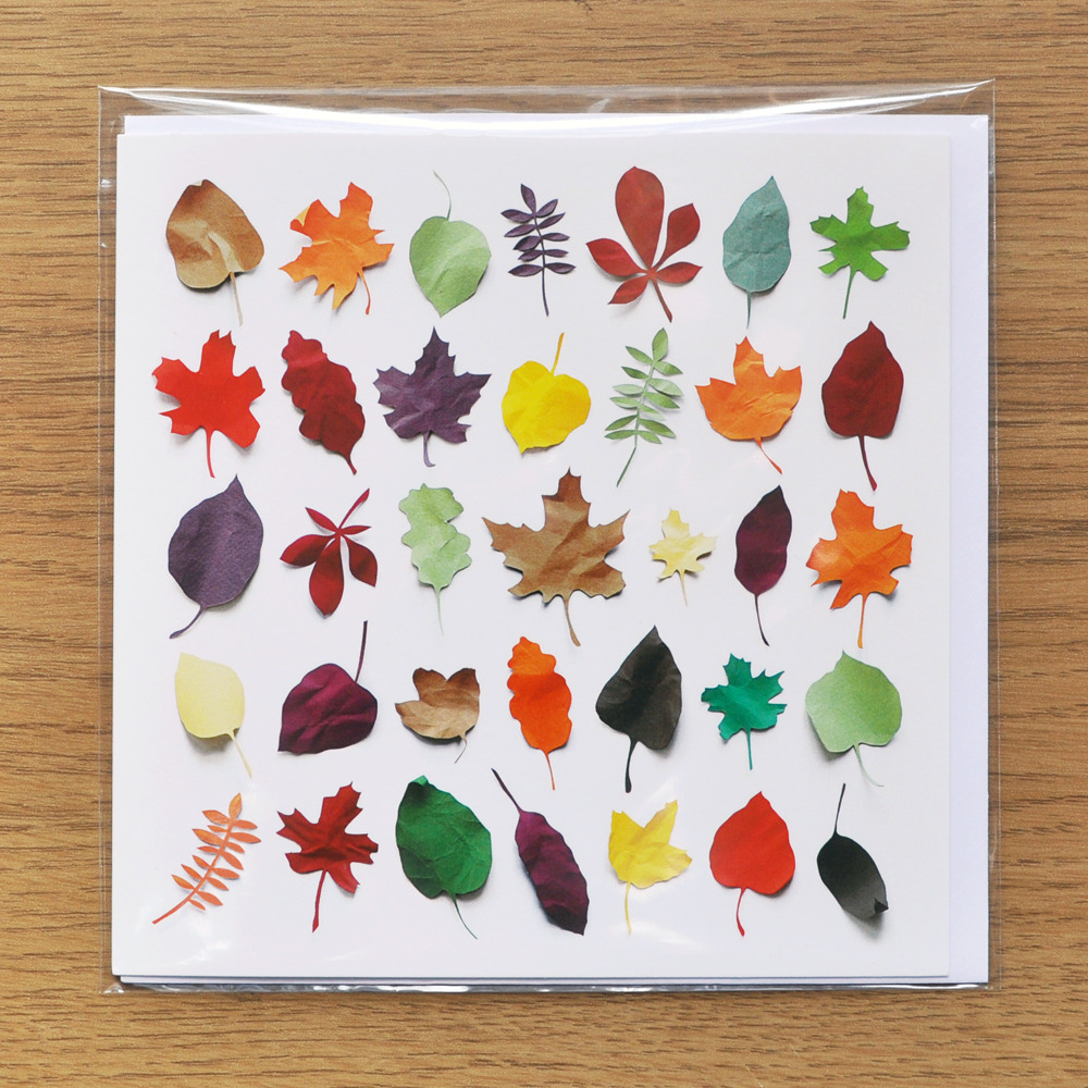 Free Paper Leaves Greeting Card