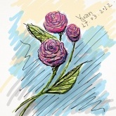 Flowers Greeting Card By Chinese Artist Yuan